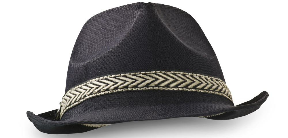 This is a close look at a black Borsalino hat with a striped accent near the brim.