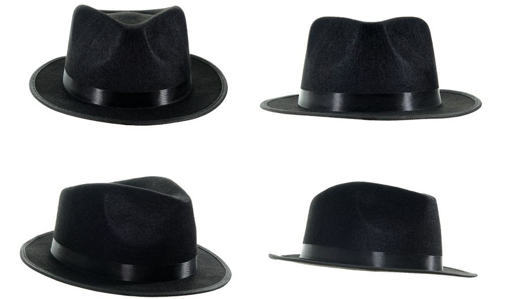 A black fedora hat being view on four different angles.