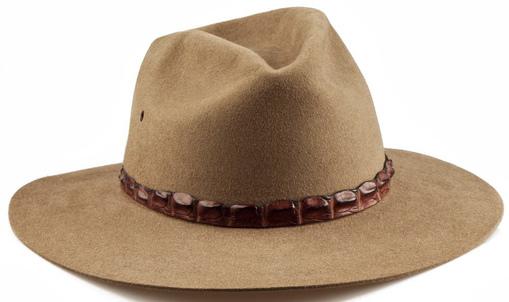This is a close look at a brown Akubra cowboy hat with snakeskin accent.