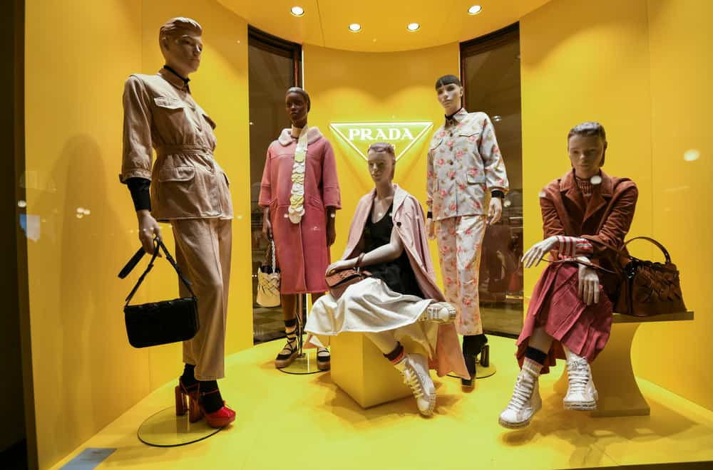 This is a close look at the boutique display of a Prada storefront.