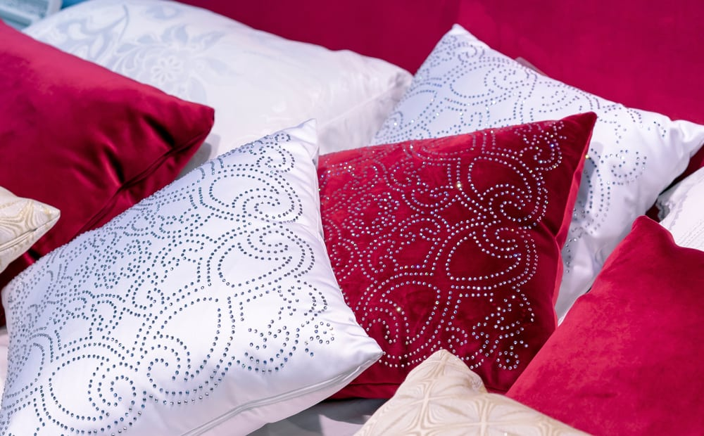 This is a close look at throw pillows with pillow covers made of Velvet Brocade.