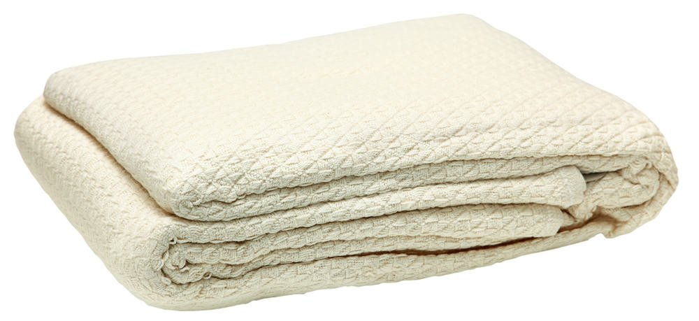 This is a close look at a beige Egyptian Cotton blanket.