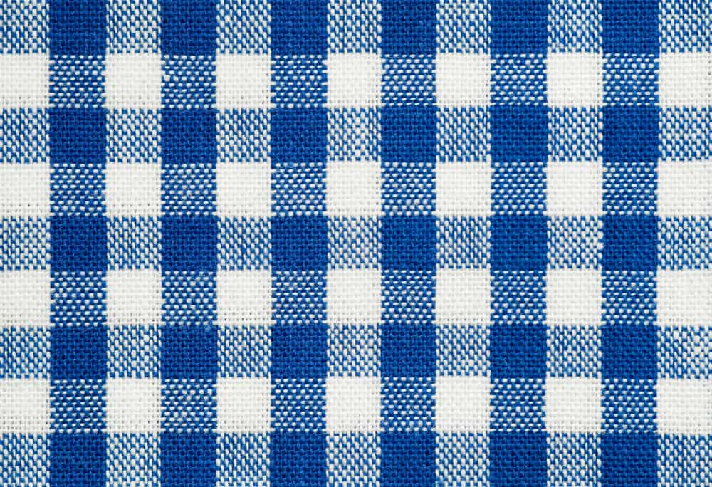 This is a close look at a blue checkered gingham fabric.