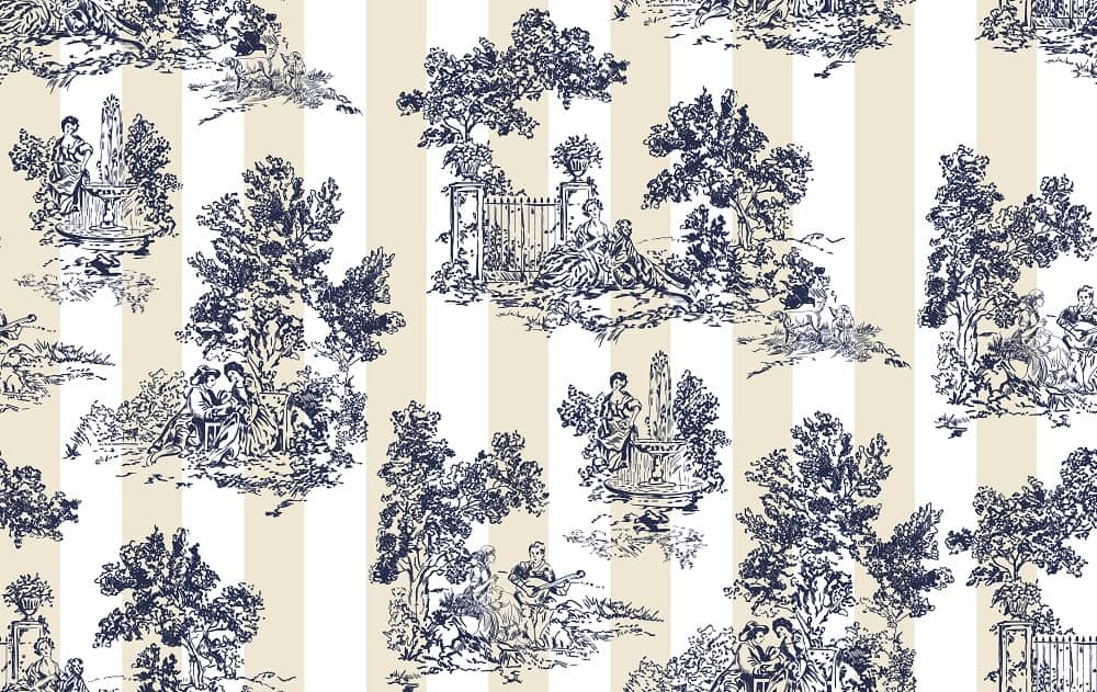 This is a close look at a patterned toile de jouy fabric.