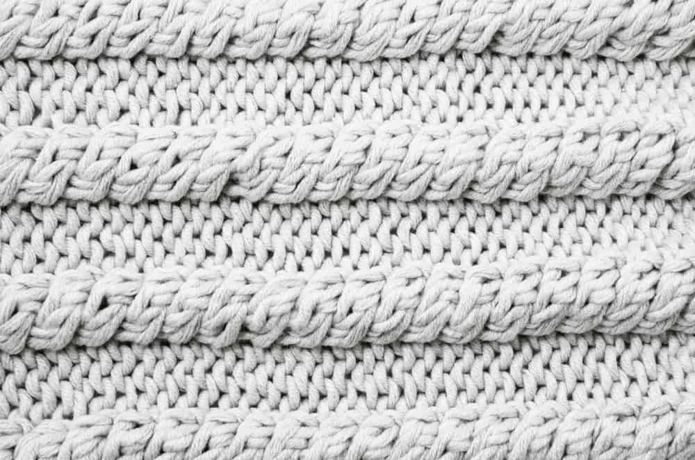 This is a close look at a piece of knitted fabric.