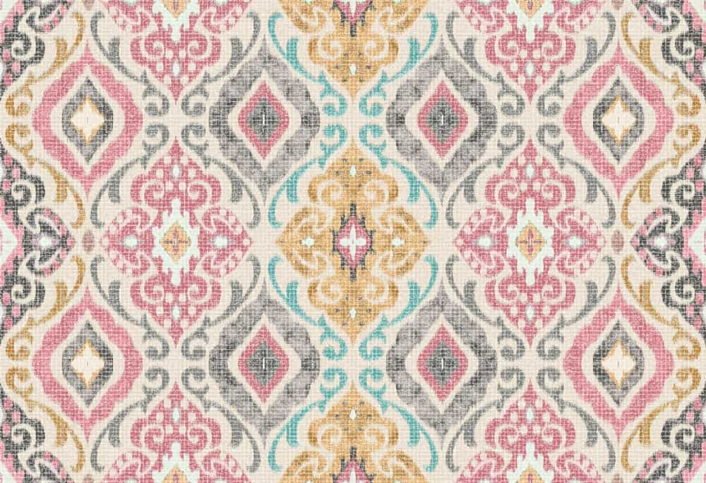 This is a close look at a colorful patterned Damask fabric.