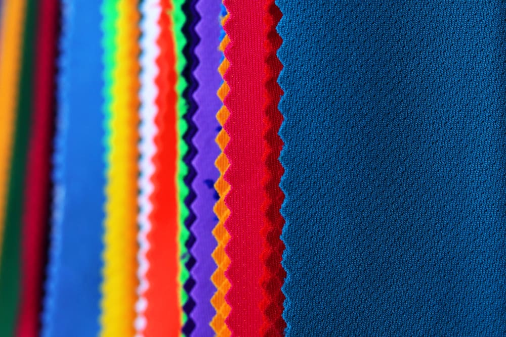 This is a close look at various colorful Polyester Fabrics.