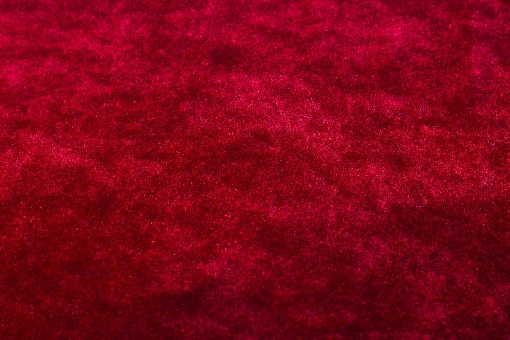 This is a close look at a red velvet Velour fabric.