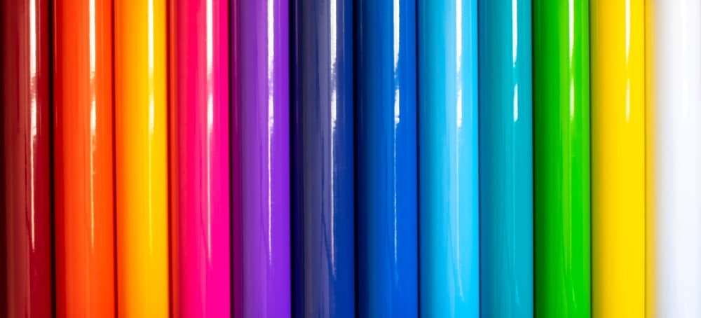 This is a close look at various colorful Vinyl fabrics.