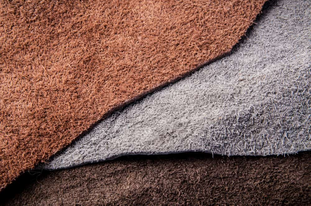This is a close look at three types of leather with different tones.