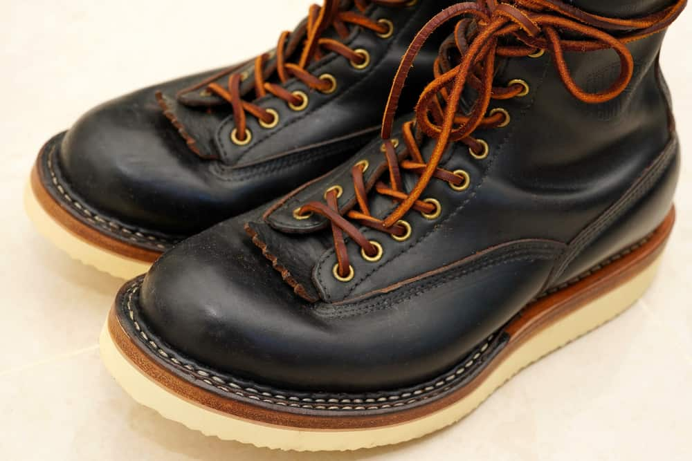 This is a close look at a pair of dark leather Chromexcel boots.