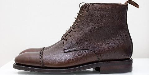 This is a close look at a pair of dark brown Scotch Grain shoes.