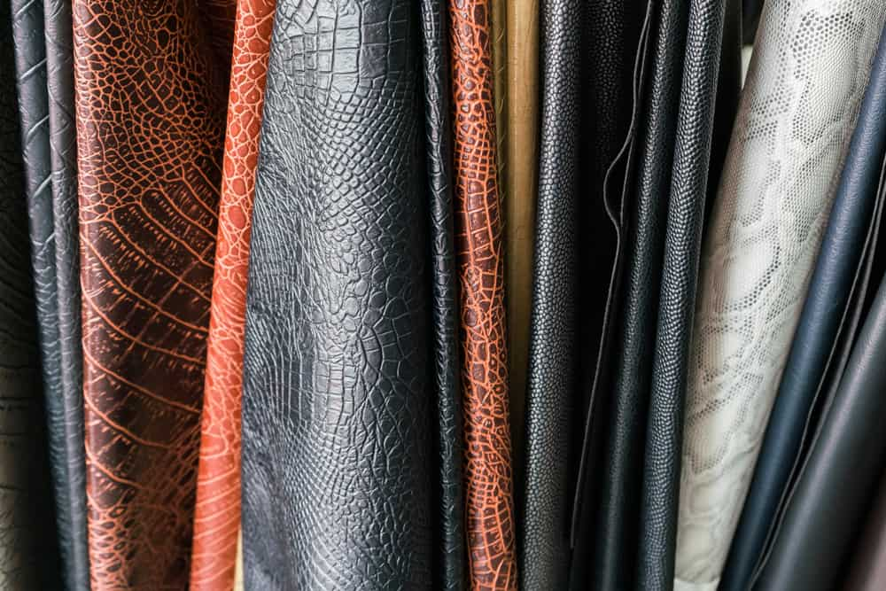 This is a close look at various PU Leather on display.