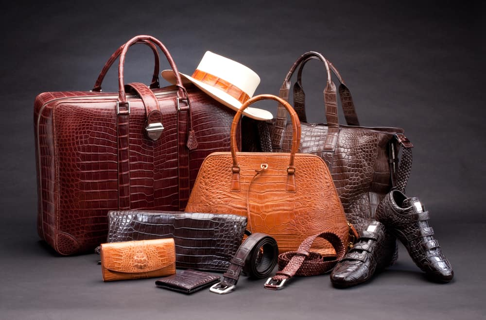 This is a look at various sets of products which are made of crocodile leather.