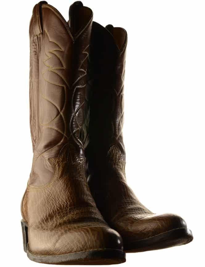 This is a close look at a pair of brown boots made of Anteater leather.