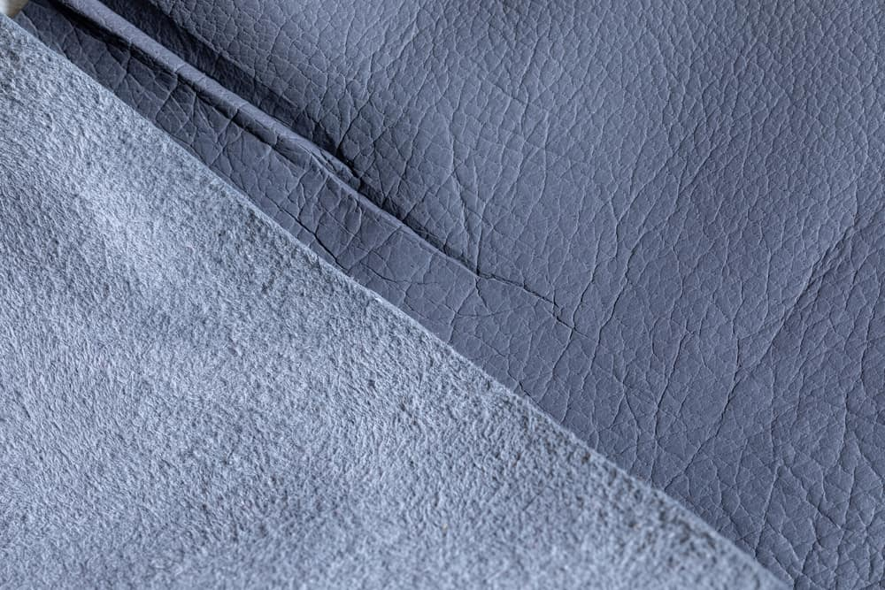 This is a close look at a natural gray pigskin suede.