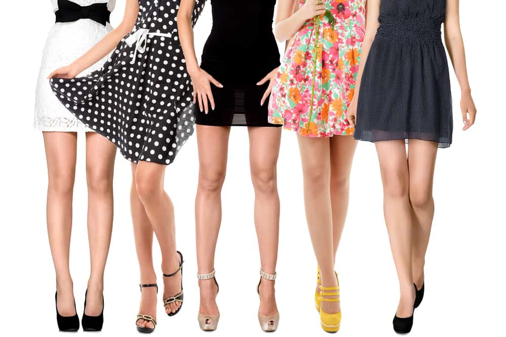 This is a close look at a women wearing various Mini Dresses.