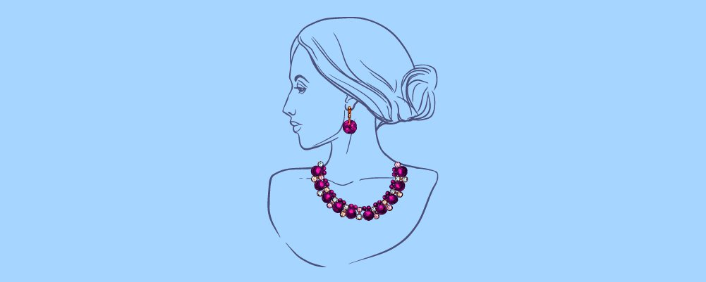 A drawing of a woman with an earing and matching necklace