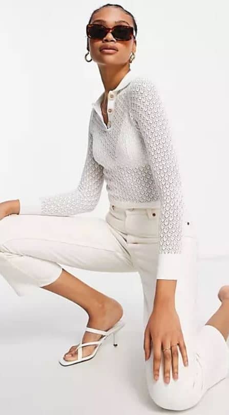 The Fashion Union knit sheer crochet sweater with natural buttons from ASOS.