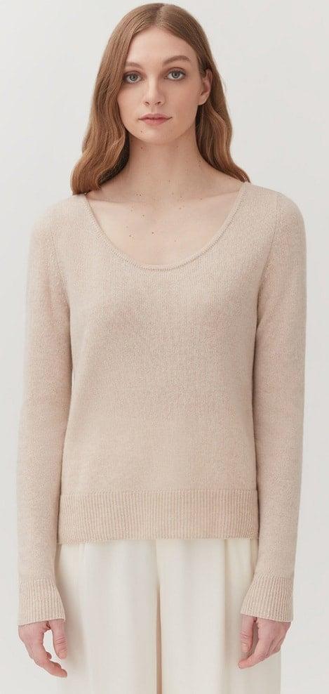 The Beige Single-Origin Cashmere Scoop Neck Sweater from Cuyana.