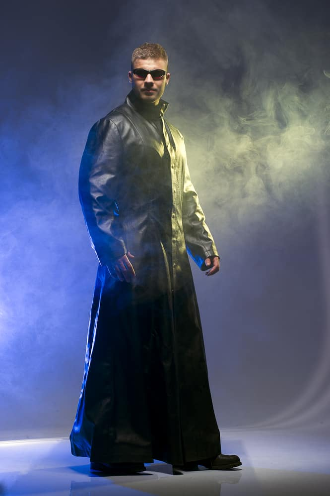Man donning a matrix style look.