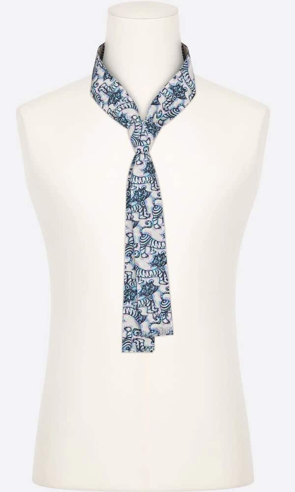 The Dior and Kenny Scharf flowing tie with tiger print from Dior.