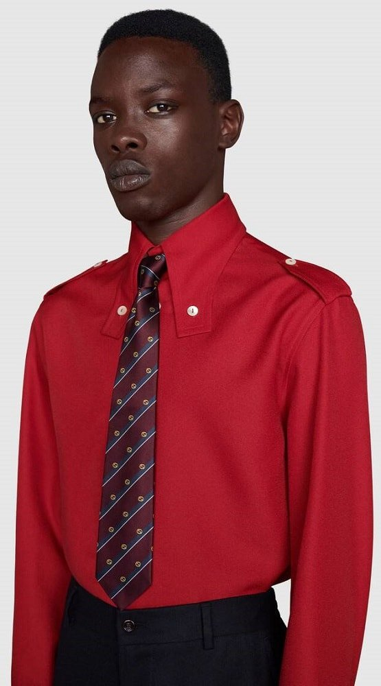 The Blue Striped Interlocking tie from Gucci.