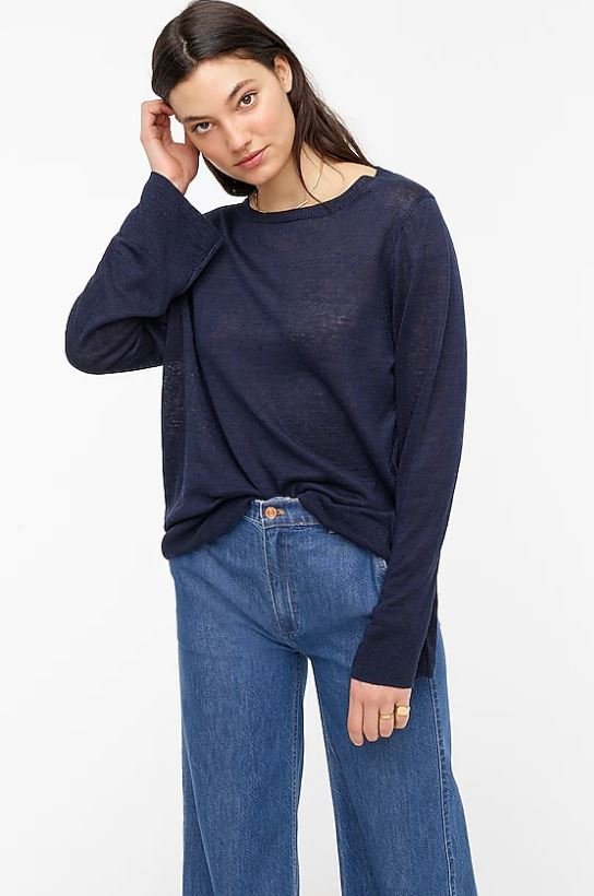 The Relaxed-fit linen crewneck sweater from J Crew.