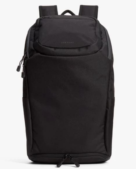 The Hakuba recycled poly onyx backpack from Lo and Sons.