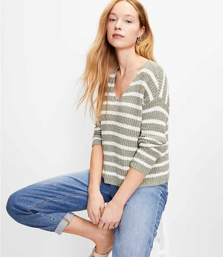 The Striped Slouchy V-Neck Sweater from Loft.