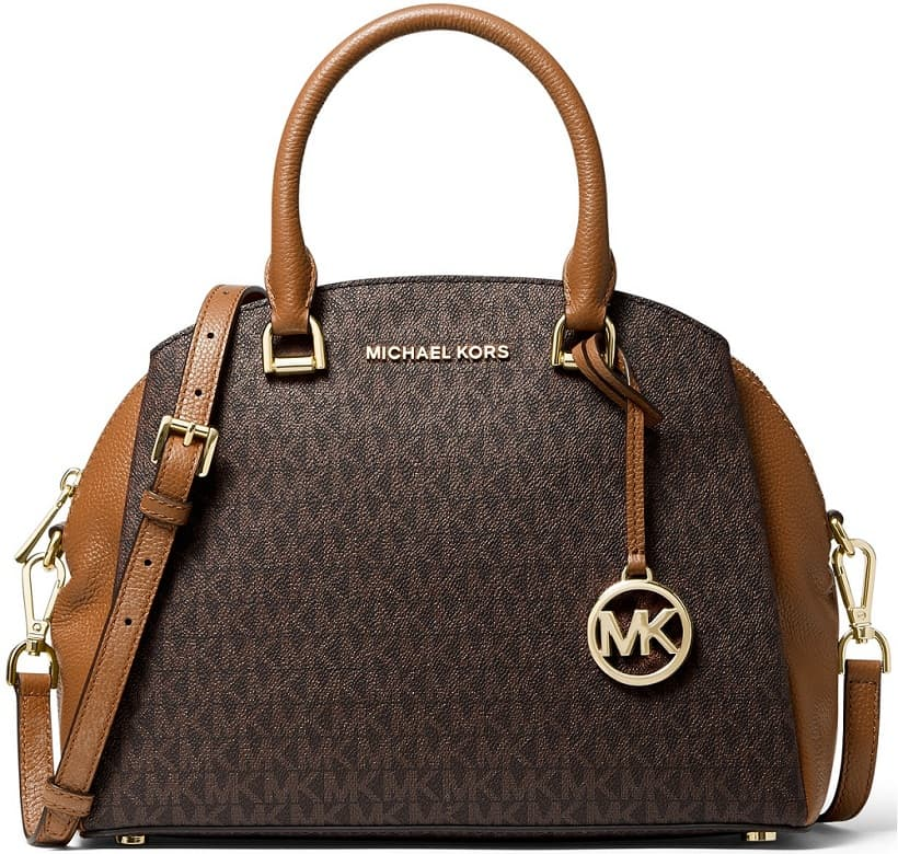 The Michael Kors Maxine Signature Logo Dome Satchel from Macy's.