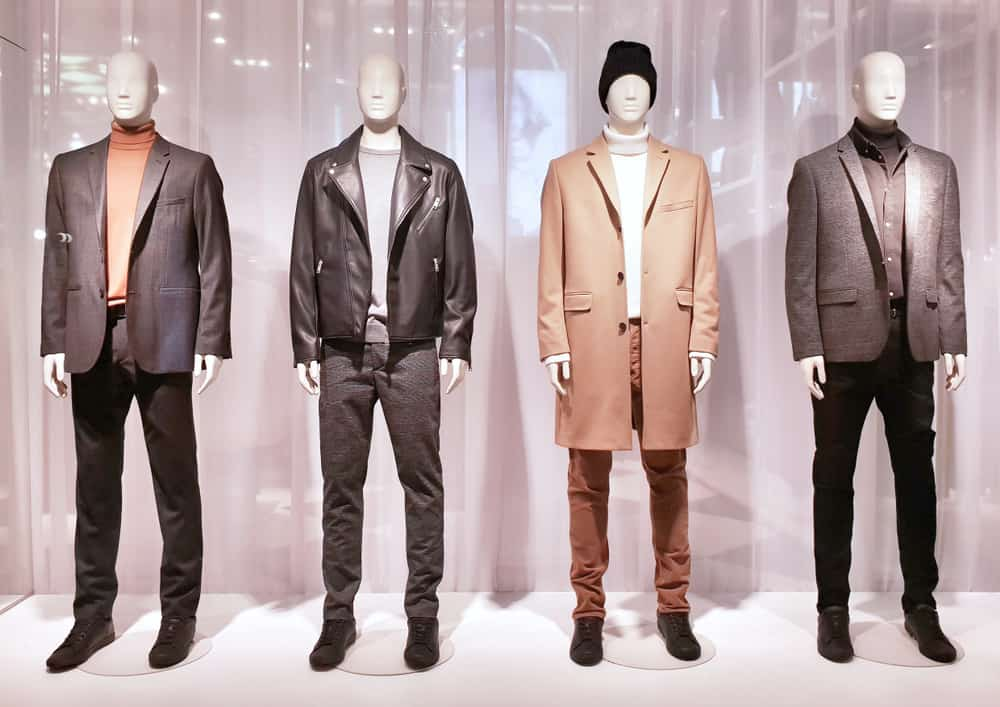 A display of men's clothing.