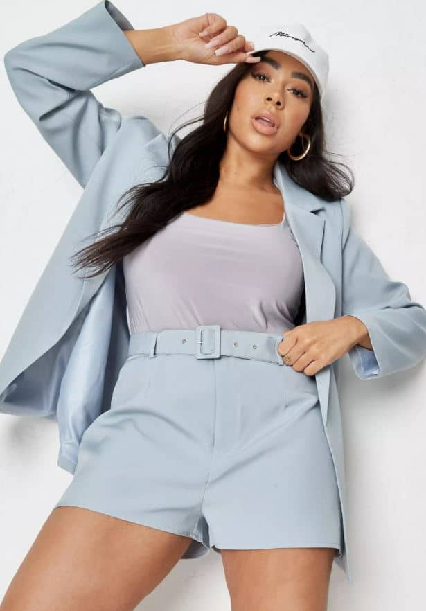 Blue high waisted tailored shorts from Missguided.