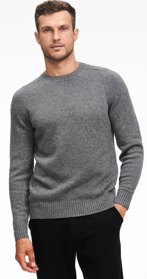 The recycled cashmere gray crewneck sweater from Naadam.