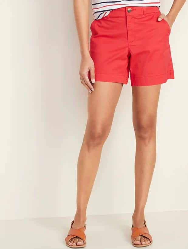 Red Mid-Rise Twill Shorts from Old Navy.
