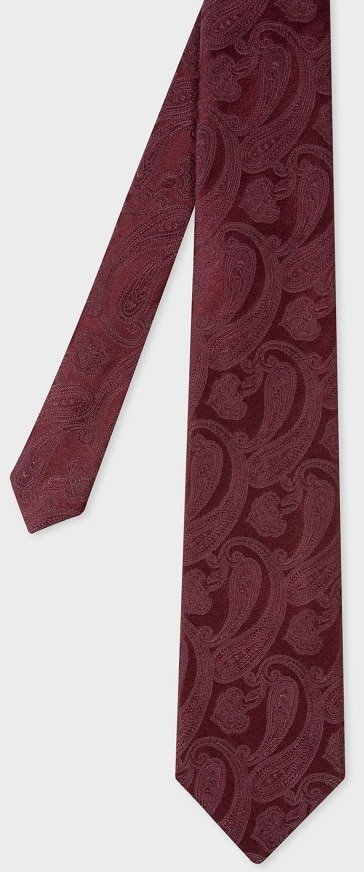 The Men's Burgundy Tonal Paisley Tie from Paul Smith.