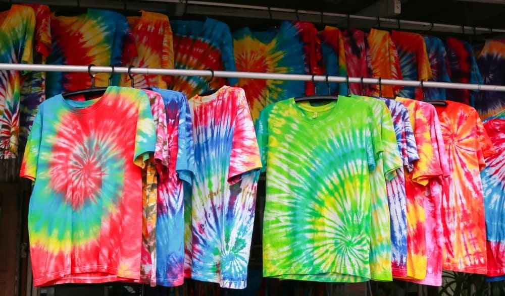 A display of tie dye shirts