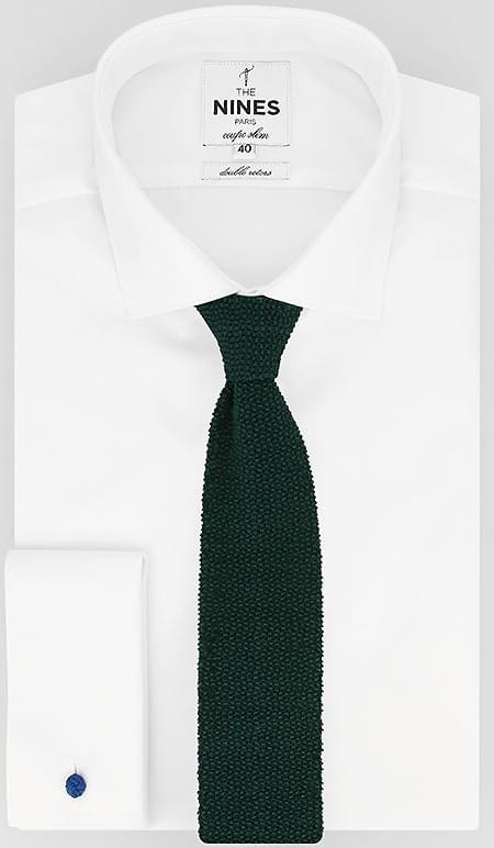 This is the dark green knit tie from The Nines.