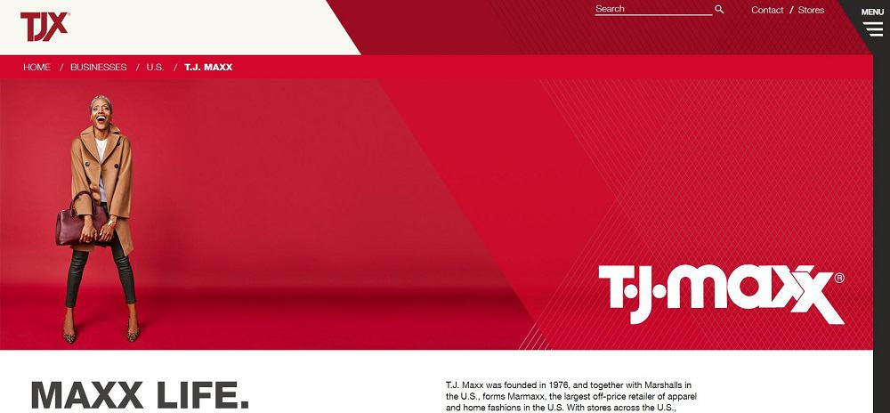 This is a screenshot of the TJ Maxx Website.