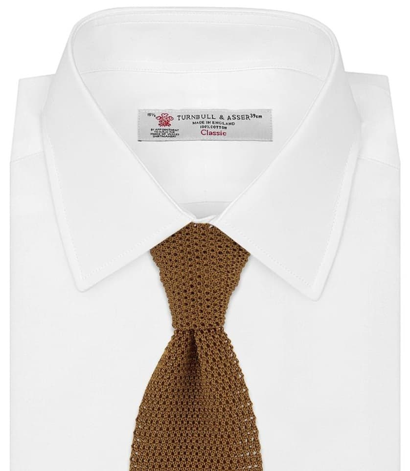 The Gold Knitted Silk tie from Turnbull and Asser.