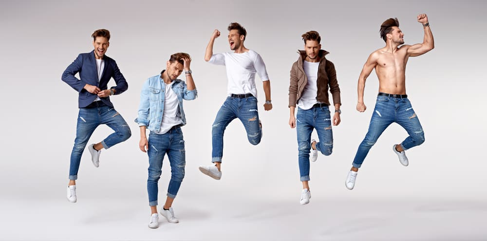 Multiple portrait of men in various fashion styles.