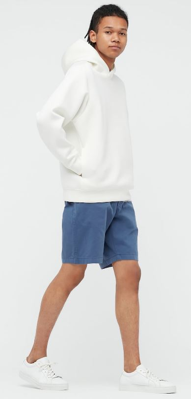 Blue chino shorts from Uniqlo.