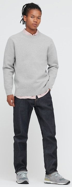 The Washable Stretch Milano Ribbed Crew Neck Long-Sleeve Sweater from Uniqlo.