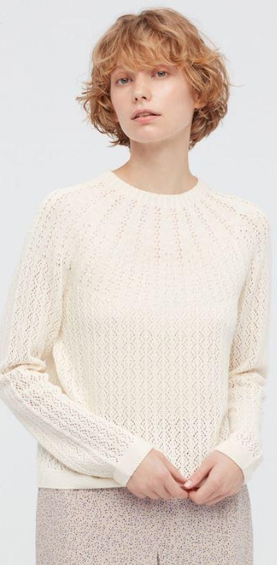 The Beige women 3d knit pointelle sweater (Ines de la Fressange) from Uniqlo.