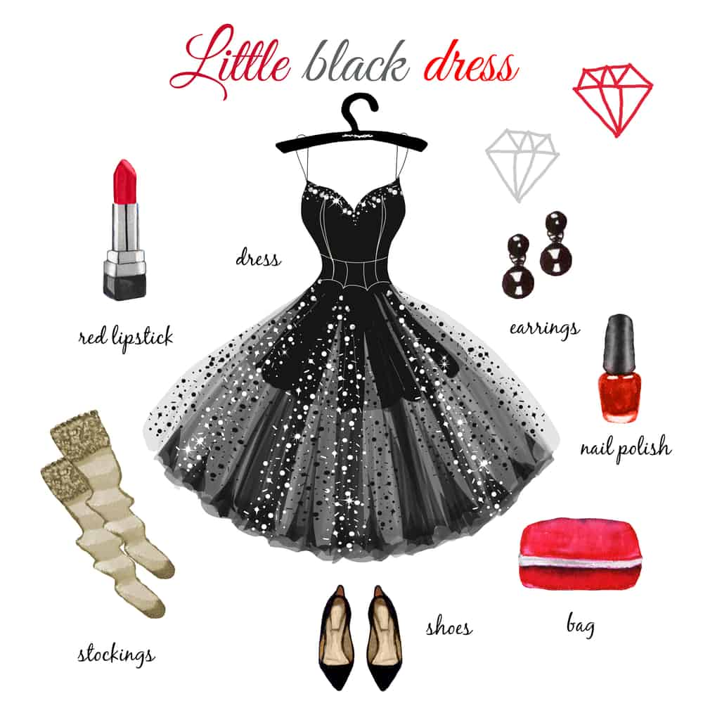 This is an illustrative diagram showcasing the ways to accessorize the little black dress.