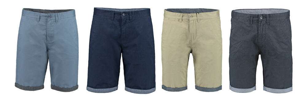 This is a close look at various different Bermuda shorts.