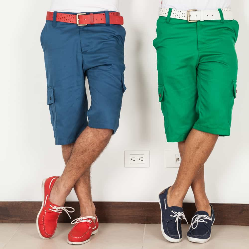 This is a close look at two men wearing hybrid shorts.