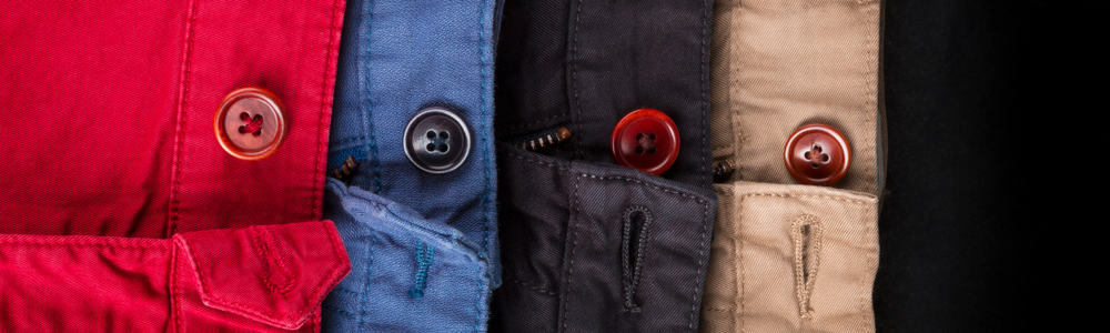 This is a close look at various twill shorts showcasing the buttons.