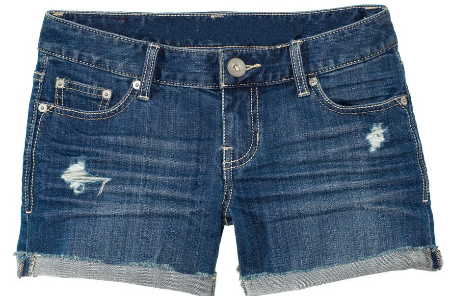 This is a close look at a pair of women's denim shorts.