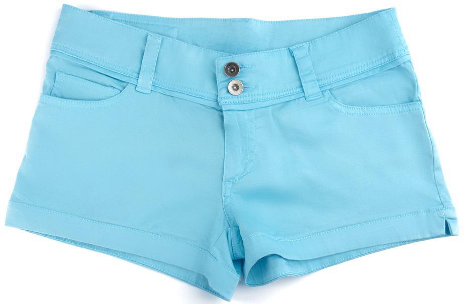 A close look at a pair of light blue chino shorts.